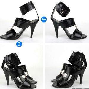Authentic!Saint Laurent Ankle Cuff Sandals silver